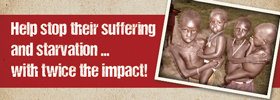 Help stop their suffering and starving ... with twice the impact!